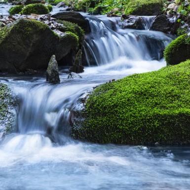 Kleine Wasserfälle in der Rückersbacher Schlucht.