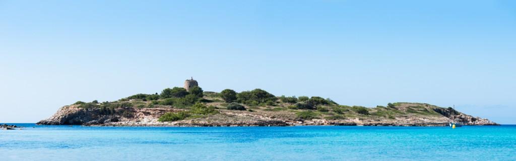 "Panorama der ""Punta Des Bufador"" vor der Küste Mallorcas (Illetes)."